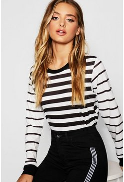 Womens Black Long Sleeve Stripe T-Shirt