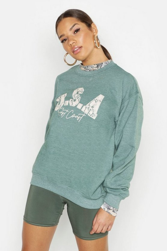USA Slogan Snake Print Oversized Sweatshirt