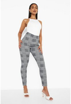 Black Dogtooth Check Skinny Pants