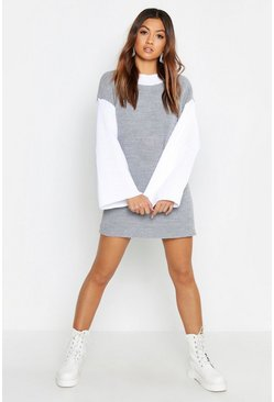 Womens Grey Contrast Sleeve Knitted Dress