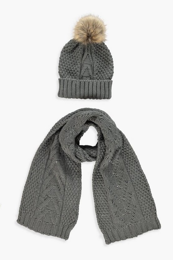 Womens Grey Cable Knit Hat & Scarf Set