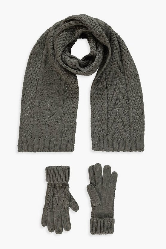 Womens Grey Cable Knit Scarf & Glove Set