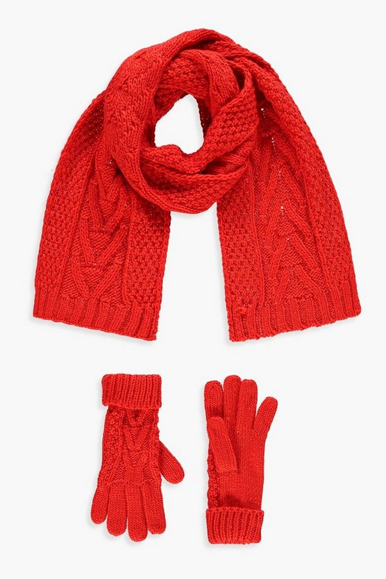 Womens Orange Cable Knit Scarf & Glove Set