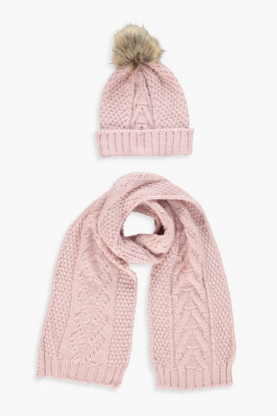 Pale pink Cable Knit Hat & Scarf Set