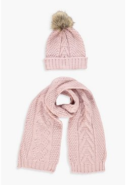 Womens Pale pink Cable Knit Hat & Scarf Set