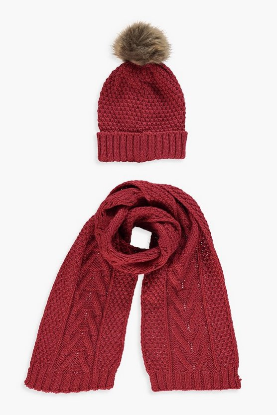 Womens Red Cable Knit Hat & Scarf Set