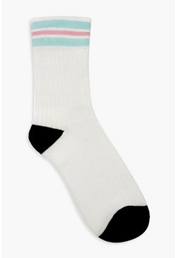 Mermaid Glitter Striped Sports Socks, Multi, Donna