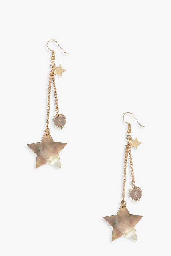 Womens Gold Star Drop Earrings