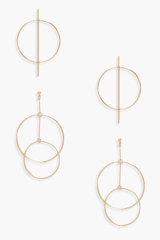 Circle Bar & Layered Hoop Earrings 2 Pack