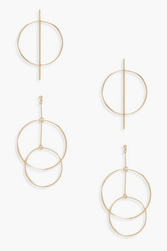 Circle Bar & Layered Hoop Earrings 2 Pack