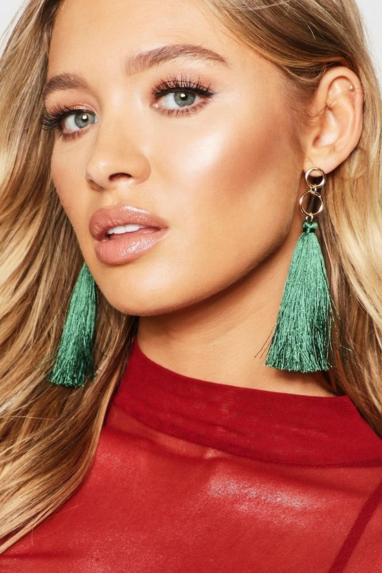 Womens Green Gold Ring Tassel Earrings
