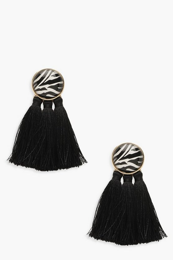 Womens Black Zebra Stud Tassel Earrings