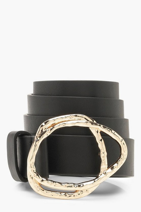 Hammered Abstract Buckle Belt