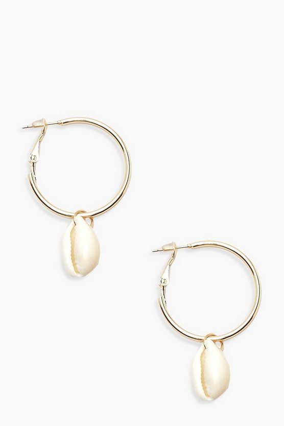 Womens Gold Shell Charm Hoop Earrings