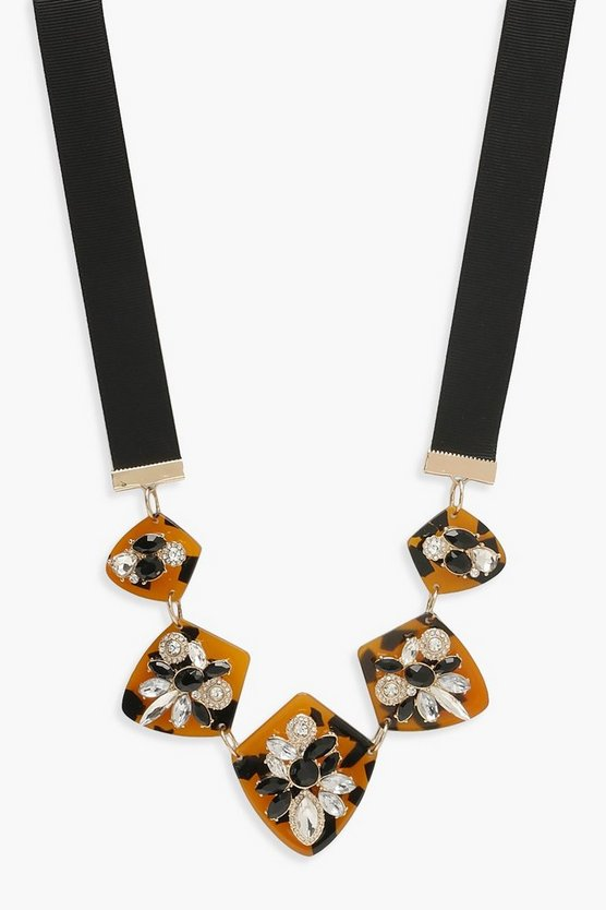 Womens Statement Tortoiseshell Necklace
