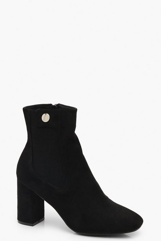 Womens Black Button Detail Block Heel Shoe Boots