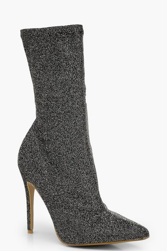 Womens Grey Pointed Toe Stiletto Heel Sock Boots