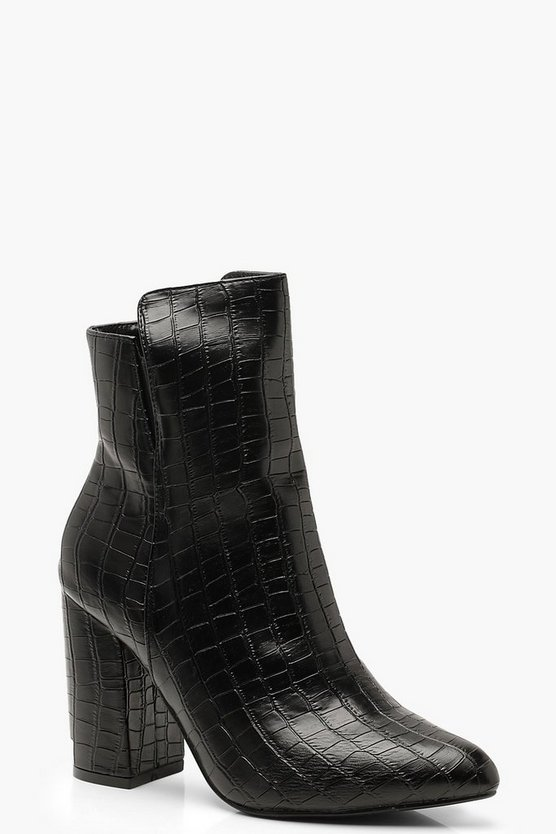 Cut Out Croc Block Heel Shoe Boots