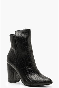 Womens Black Cut Out Croc Block Heel Shoe Boots