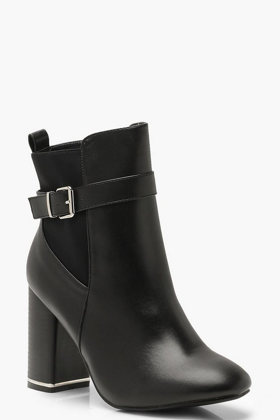 Womens Black Buckle Detail Block Heel Chelsea Boots
