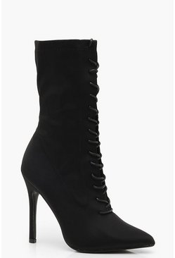 Womens Black Lace Up Stiletto Heel Shoe Boots
