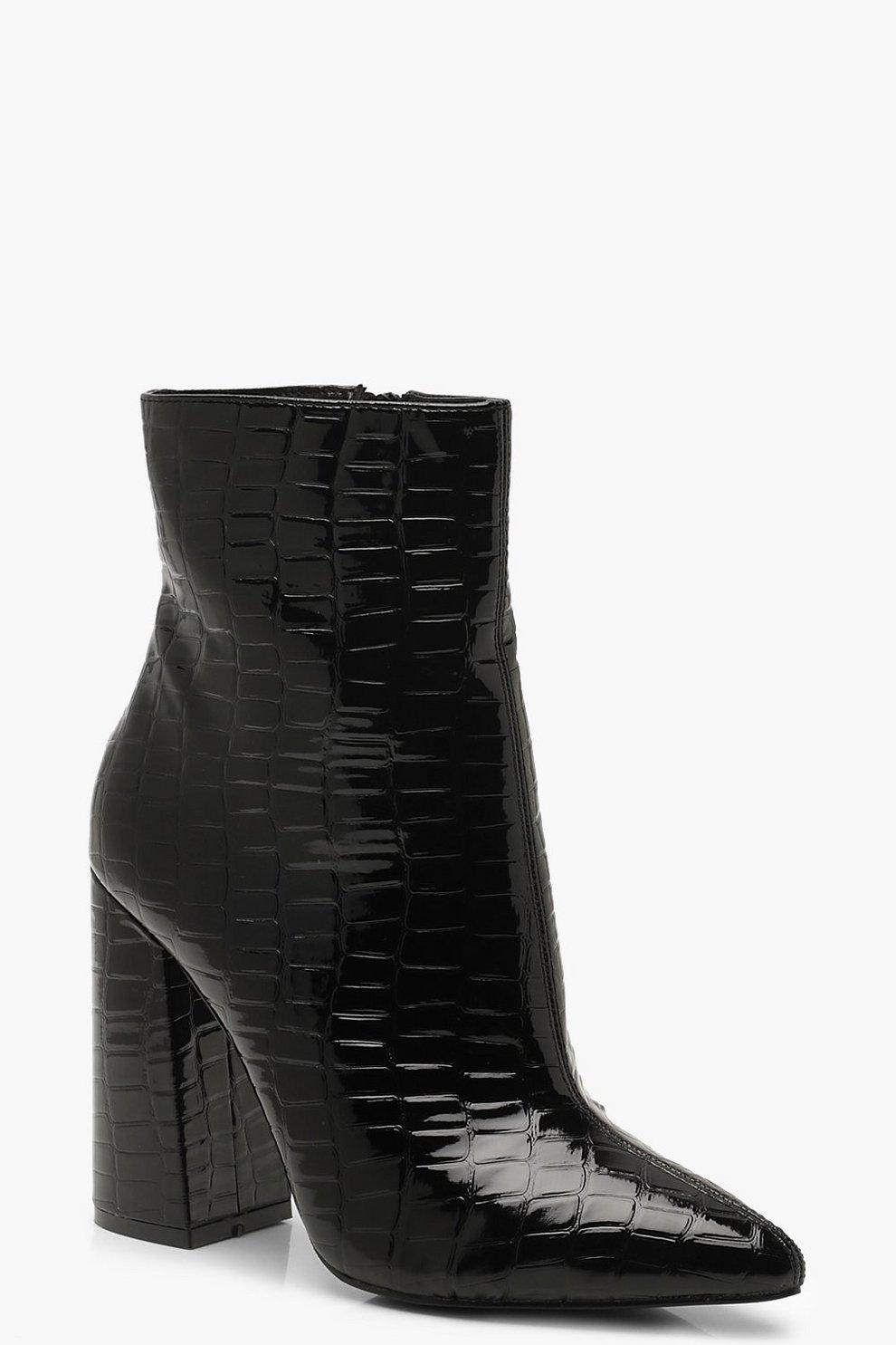 4dcb81787e3f Croc Block Heel Sock Boots