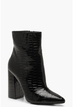 Womens Black Croc Block Heel Sock Boots