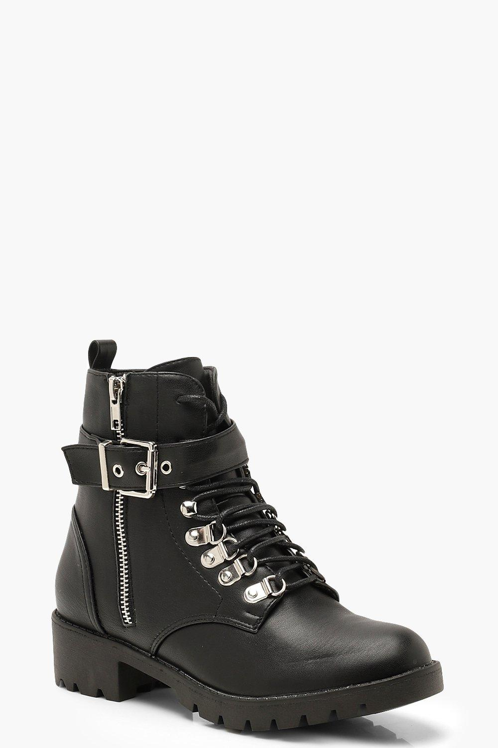 Lace Up Buckle Detail Hiker Boots