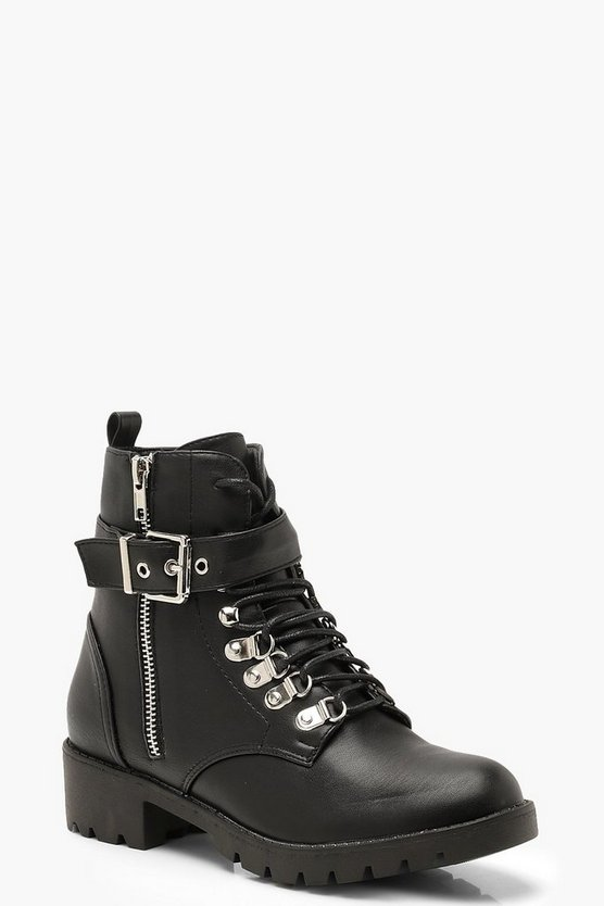 Black Lace Up Buckle Detail Hiker Boots