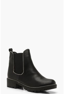 Womens Black Stud Detail Chunky Chelsea Boots