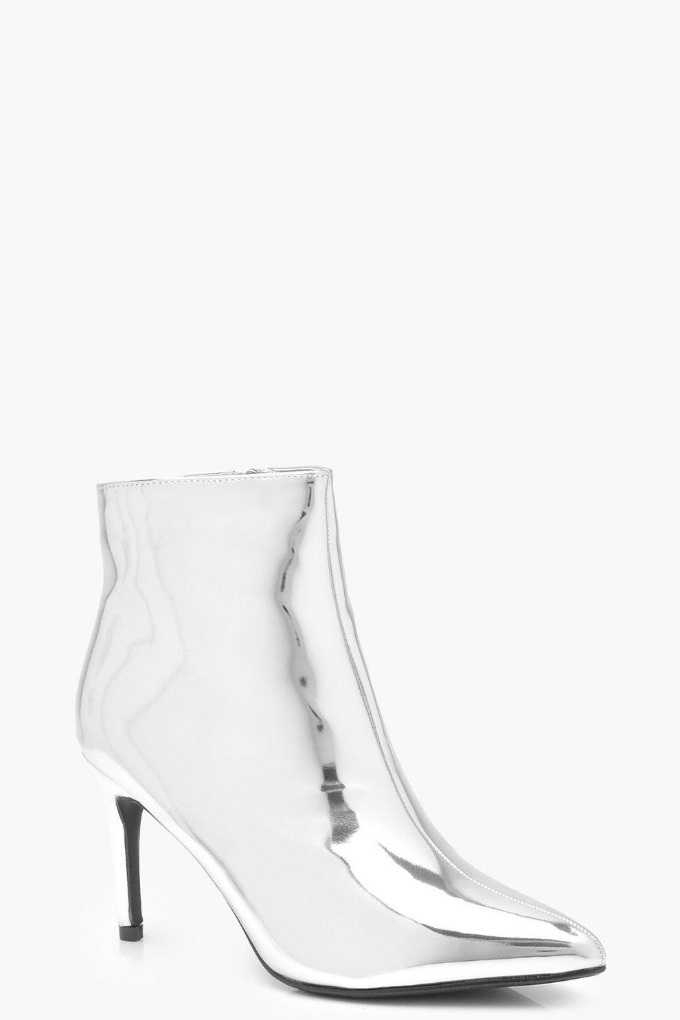 45031e774b4 Womens Silver Pointed Toe Stiletto Shoe Boots