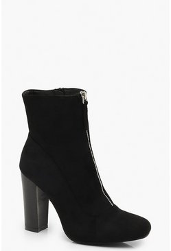 Womens Black Zip Front Block Heel Sock Boots
