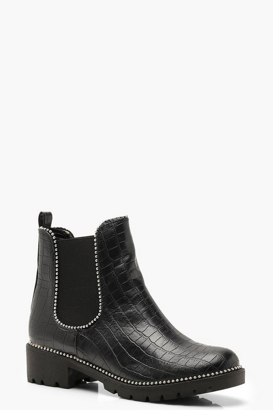 Womens Black Croc Stud Detail Chunky Chelsea Boots