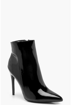 Womens Black Pointed Toe Stiletto Shoe Boots