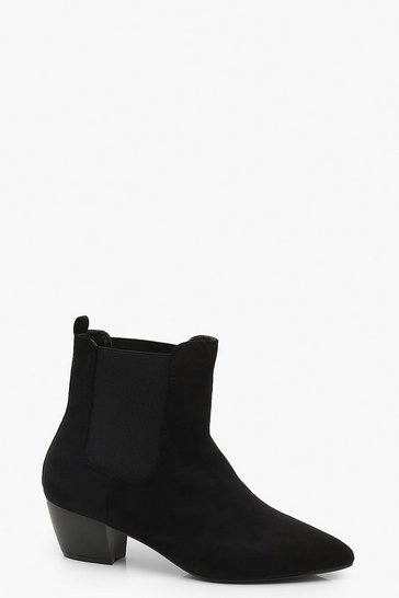 Womens Black Western Style Pull On Chelsea Boots