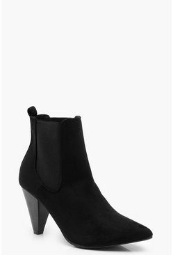 Womens Black Cone Heel Loop Back Shoe Boots