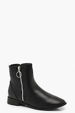 O Ring Zip Up Flat Chelsea Boots