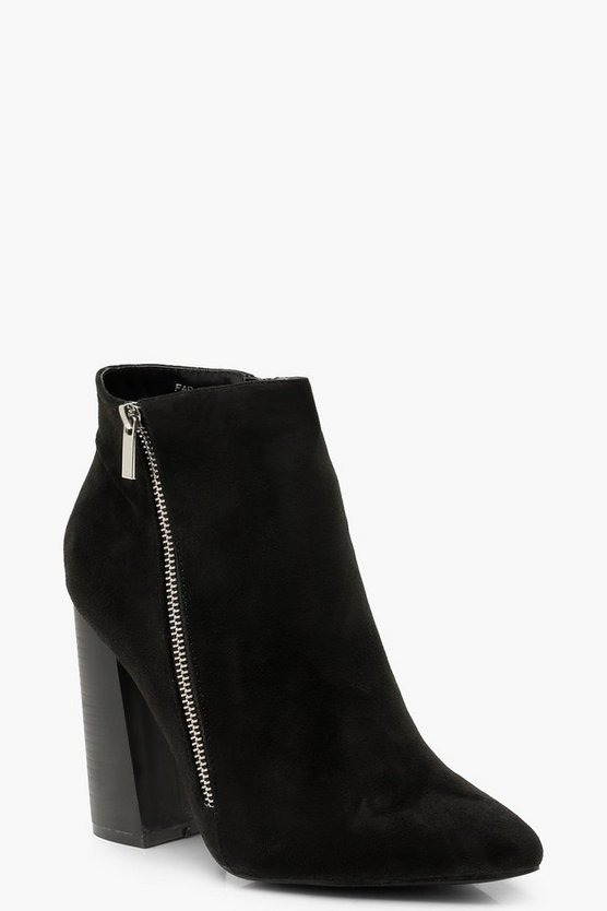 Zip Side Block Heel Shoe Boots