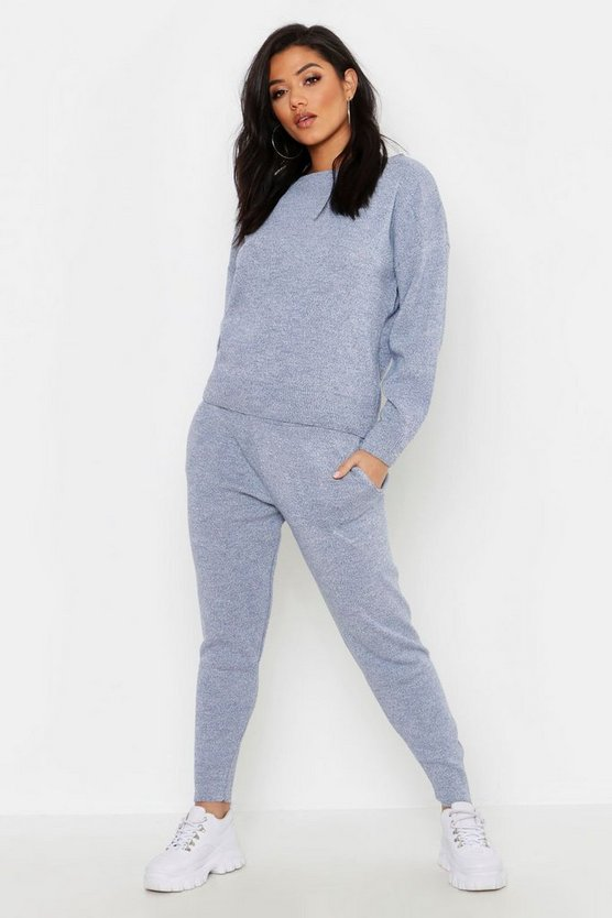 Womens Denim-blue Slash Neck Cropped Knitted Set