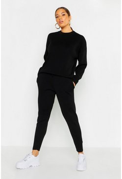 Black Crew Neck Knitted Set