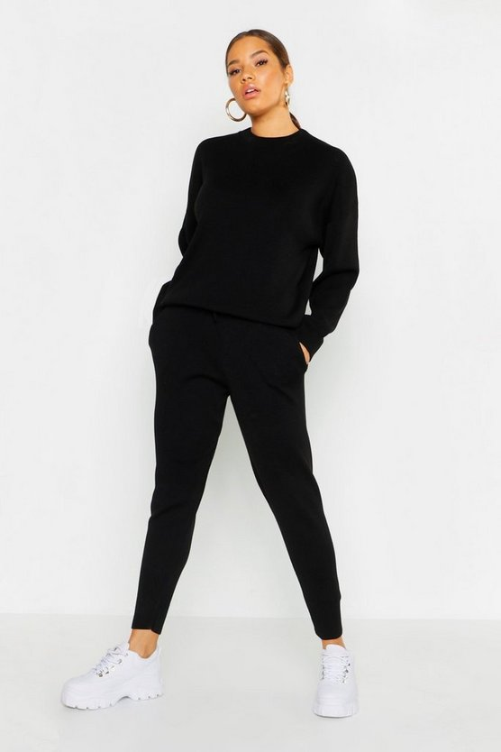 Womens Black Crew Neck Knitted Set