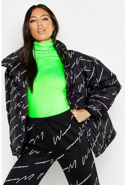 Womens Black Woman Printed Puffer Jacket
