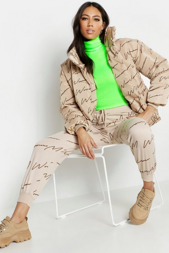Womens Camel Woman Printed Puffer Jacket