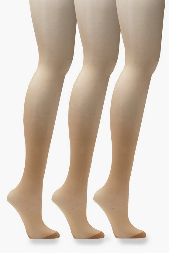 Nudes Collection 20 Denier 3 Pack Tights - Tan