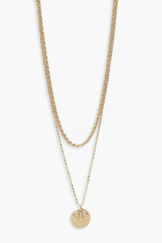 Womens Gold Bee Charm Twist Chain Layered Necklace