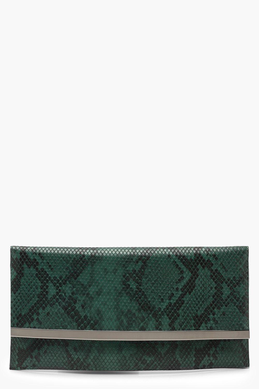 Faux Python Snake & Bar Clutch