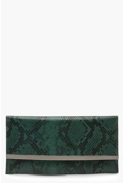 Womens Green Faux Python Snake & Bar Clutch