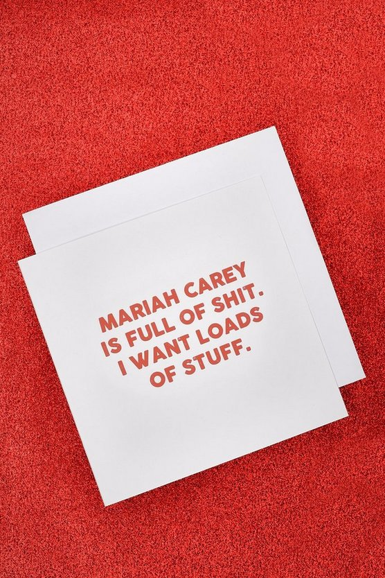 Womens White Mariah Carey Christmas Card