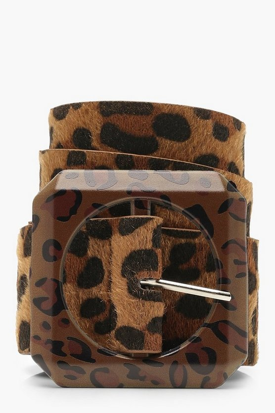 Statement Buckle Leopard Belt