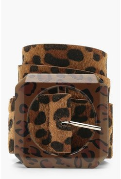 Womens Dark brown Statement Buckle Leopard Belt